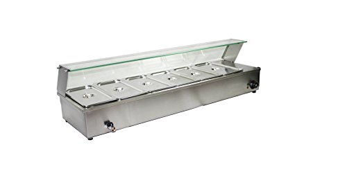 Bain Marie, Six 6 Pots, Electric Sauce Soup Food Warmer Glass Top, Temperature Display, Commercial Baine Marie