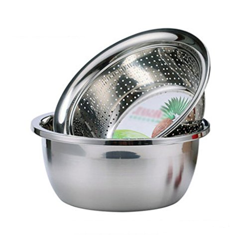 MXJ61 Deepen Thicker Stainless Steel Pot Mixing Basin Seasoning Pots Soup Basin Induction Cooker Is Available Drain Basin Rice Sieve 2 Pcs / Set