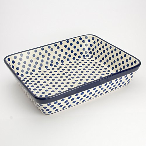 Polish Pottery Medium Lasagne Dish - Small Blue Dot - 28 x 23cm