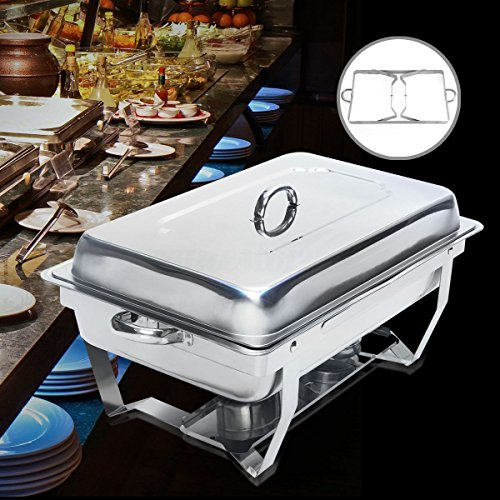 SET OF 2 CHAFING DISH SET 9 LITER POLISHED STAINLESS STEEL FOR CATERING BUFFETS PARTIES