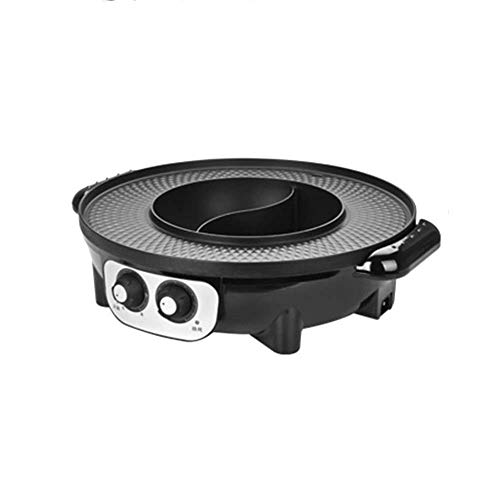 ACIA Electric Grill Two-in-one with a smokeless electric baking pan electric hot pot wok barbecue machine socket power supply two options (diameter 42CM),twogrids