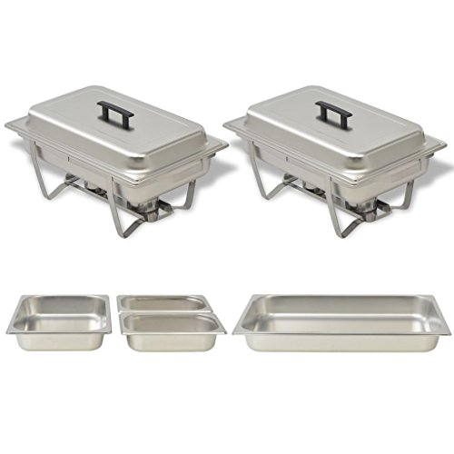 Zora Walter Set of Food Warmers for Buffet 2 Pieces Stainless Steel Lids with Insulated Handles