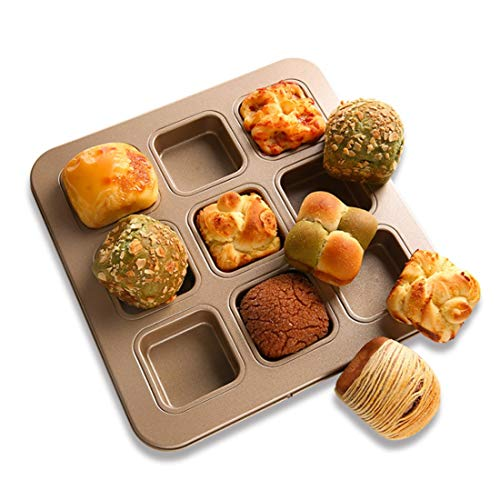 SunriseE DIY French Bake 9 Square Dessert Cake Mold Household Bread Mold Oven with Non-stick Baking Mold (Color : Gold)