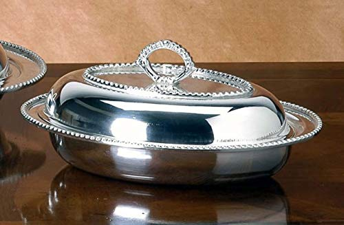 Royal Queen Oven Dish with lid silver plated Beaded style cod.51811545A cm 32x25 by Varotto & Co.