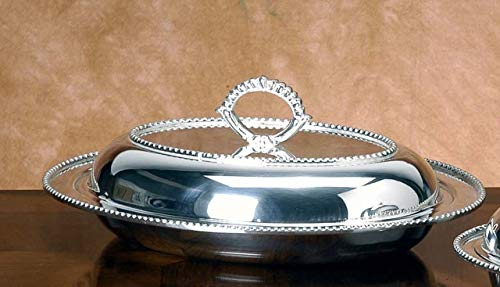 Royal Queen Oven Dish with lid silver plated Beaded style cod.51811545B cm 25x19 by Varotto & Co.