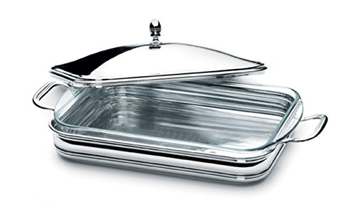 sweet home Silver plated vegetable dish with pyrex insert English style cod.52985 cm 32x24 by Varotto & Co.