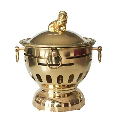 YYCHJU Chinese Traditional Old Beijing Charcoal Hot Pot Retro Home Restaurant Alcohol Furnace Small Hot Pot Copper Slow Cooker Portable Outdoor Dry Boilers (Diameter 18 CM Yellow Copper)