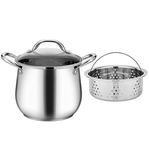 Large Heavy Eco-nickel-free Stainless Steel Stock Pot, Induction Pot 8 Quart Cooking Pot, Stainless Steel Double-eared Soup Pot With Lid And Steamer, Family Kitchen Or Dining Room Steamer 20/24cm