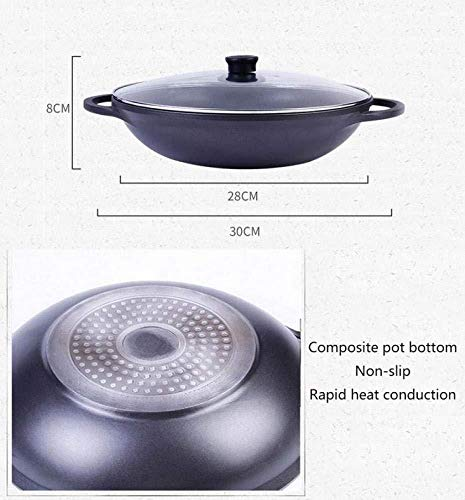 YLFW Wok Iron Induction Gas Safe/Soft Touch Handle Non-Stick Round Bottom Uncoated Woks With Glass Lid,32CM