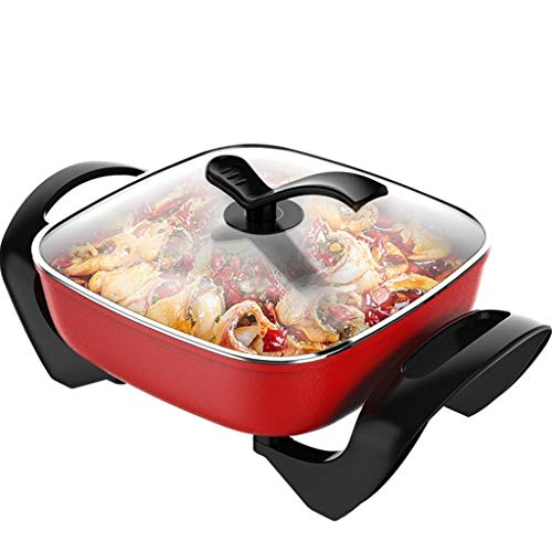 30 Cm Non Stick Electric Wok With Glass Lid And Adjustable