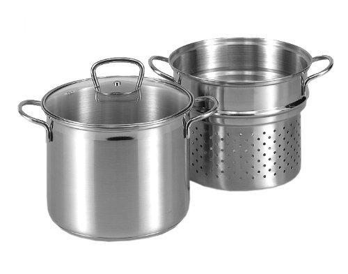 Karl Kruger Stainless Steel Spaghetti Pot with Glass Lid, 6.5 l, Silver, 30 x 24 x 30 cm