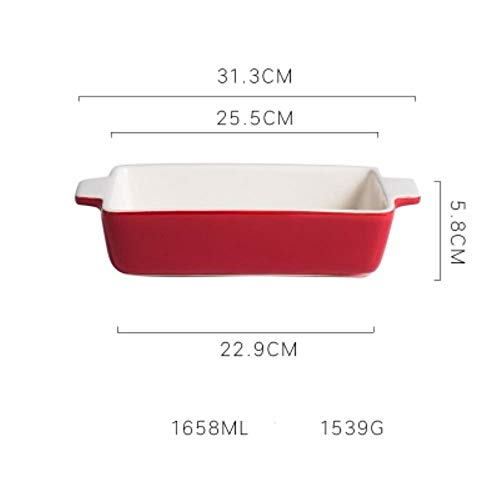 KOIYOI Nordic rectangular non-stick large ceramic baking tray multi-person oven with solid color home cheese risotto dish fish,1