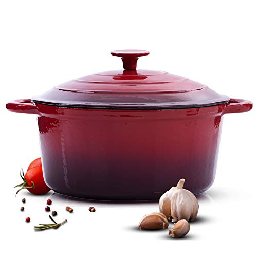 Royalford Cast Iron Casserole Dish | 26cm | 6.2 L | Graduated Red | Round Induction Casserole with Tough Enamel Coating | Works on Gas, Induction, Ceramic & Electric Hobs - Durable Design & Oven Safe