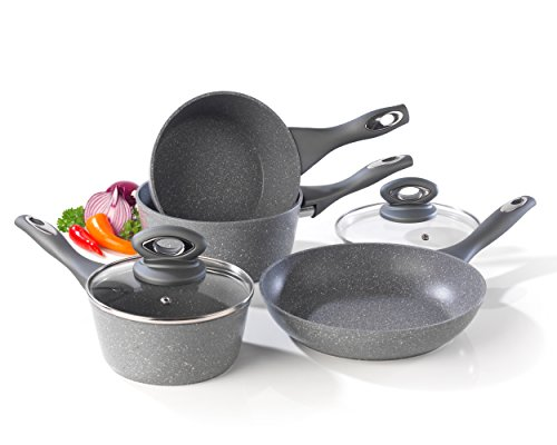Salter BW04151G1AR Marble Collection Forged Aluminium Non-Stick Saucepan and Frying Pan Set, 4 Piece, Grey