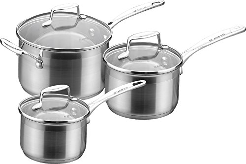 SCANPAN Impact sc71060000 - 1,2l - 1,8L Stainless Steel Set of 3 Saucepans with Lid 2.5 L