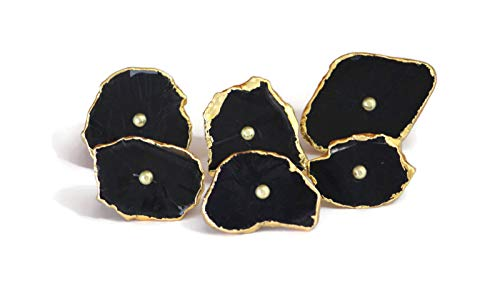Set of 6 Large Pure Black Color Agate Stone knobs with Golden electroplated Edges - Unique Cabinet knobs - Boutons en Pierre d