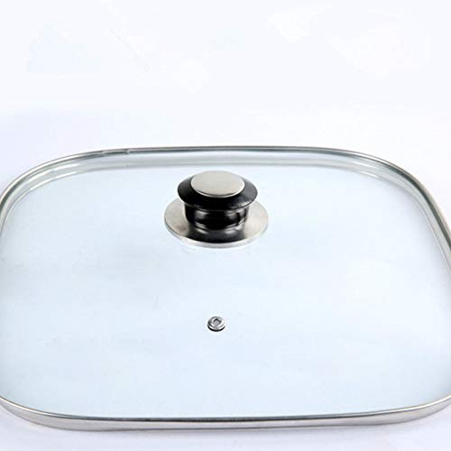 SLXTDGMZ Cookware square glass cover tempered tempered glass cover heat-resistant glass cover round cover with rotating button cover diameter is 32cm