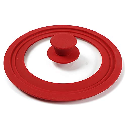 SLXTDGMZ Multi-purpose silicone cooking pot lid glass pot silicone milk pot lid iron pot waterproof high temperature anti-fall suitable for 28, 30, 32cm pot red lid