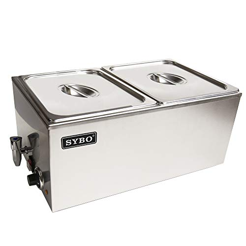 SYBO ZCK165BT-3 Commercial Grade Stainless Steel Bain Marie Buffet Food Warmer Steam Table for Catering and Restaurants, (3 Sections with Tap), Sliver (2 Section with Tap)