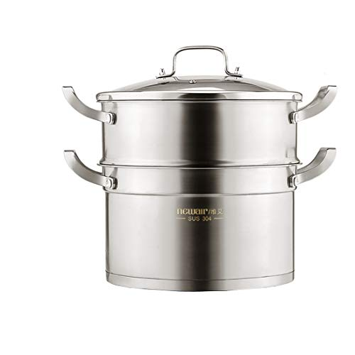 CHENTAOCS 304 Stainless Steel Steamer Household 2 Layers Three Layers Thick Soup Pot Steamer Induction Cooker Gas Pot 28cm (Color : Metallic, Size : 28cm)