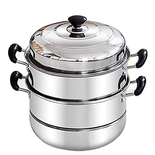 CHENTAOCS Stainless steel steamer three-layer thickening household induction cooker soup pot steaming grid steamer (Color : Metallic)