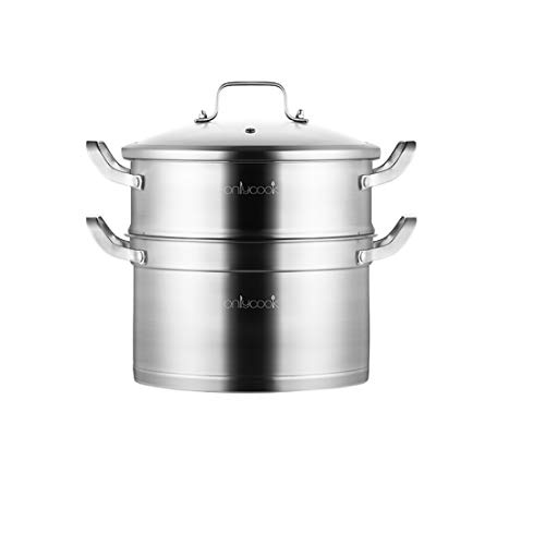 CHENTAOCS Thickened 304 Stainless Steel Double-layer Steamer Household Steamed Steamed Buns Large Steamer Gas Cooker (Color : Metallic, Size : 24cm)