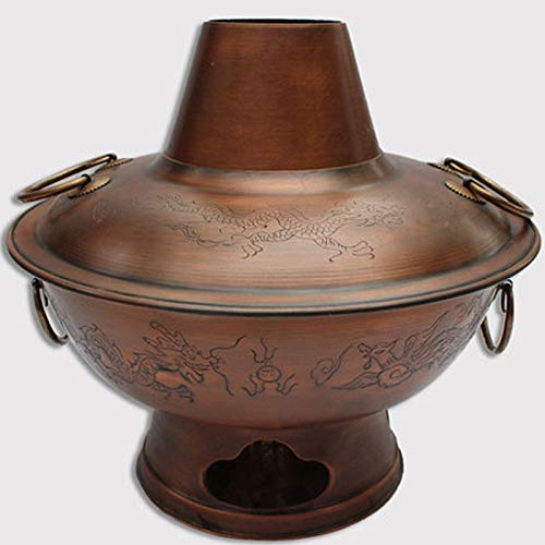 Chinese Copper Hot Pot Beijing Copper Hotpot Copper Charcoal Chimney Pot (36copper8-10use)