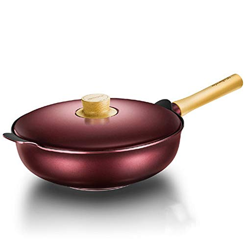 CZWYF Aluminum Nonstick Wok Stir With Induction Compatible Bottom/32x10cm (Color : Red)