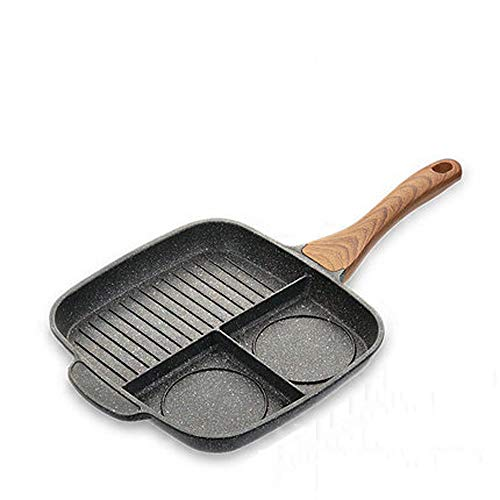CZWYF New Maifan Stone Steak Frying Pan/Three-in-one Multi-function Omelette Pan/Non-stick Pan Smoke-free Breakfast Pot/11.02x11.02inches (Color : A, Size : M)