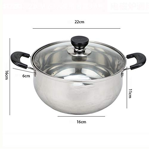 CZWYF Stainless Stockpot For Fondue,Frying, Cooking, Baking On Induction, Electric, Gas & In Oven (Size : 22cm)