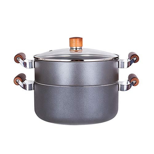CZWYF Two Layers Of Non-stick Steamer Home Steamer 24CM Stewpan Multifunction Cookware Induction Cooker Universal