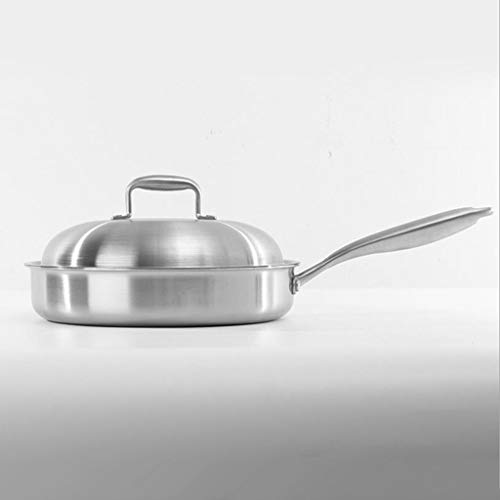 DYHOZZ 24cm, 26cm, 28cm Stainless Steel Frying Pan Smokeless Nonstick Kitchen Universal Pan (Size : 24cm)