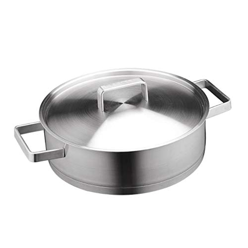 DYHOZZ 28cm Stainless Steel Frying Pan With Uncoated Thick Fried Steak Pot
