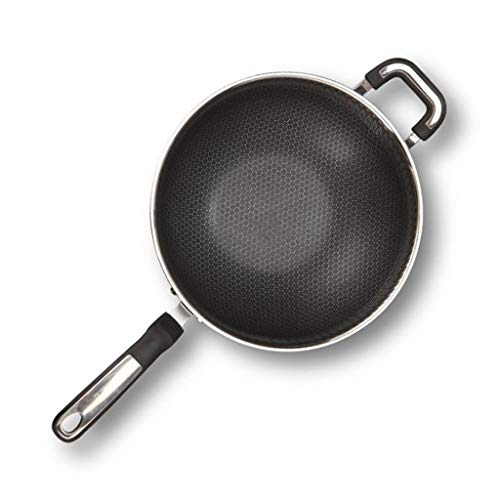DYHOZZ 32cm, 34cm Pan Non-stick Pan Stainless Steel Wok Home Micro-smoke Uncoated Pan (Size : 34cm)