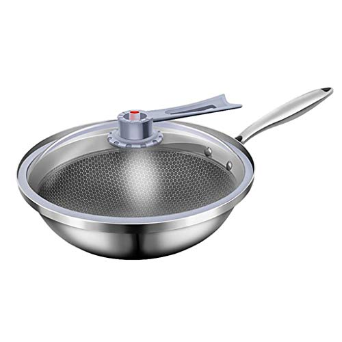 DYHOZZ 32cm Stainless Steel Vacuum Cooker Honeycomb Multi-layer Wok Uncoated Non-stick White Steel Pot