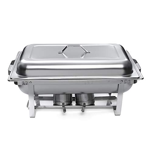 DyNamic 4 Packs 3 Plates Chafing Dish Tray Buffet Heating Stove Caterer Warmer Stainless Steel