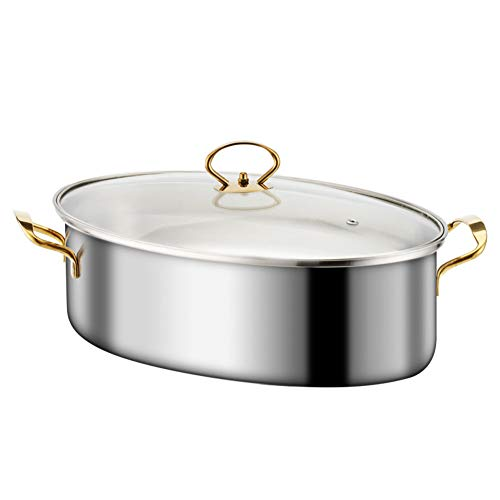 Fish Poacher Steamer Stainless Steel Pot Pan Elliptical Shape, Universal for Induction Cooker, Stove Multifunction High Quality 38cm Kitchen Gift