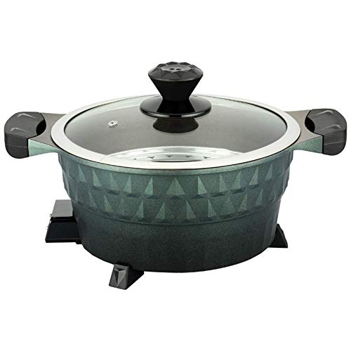 Fondue Hot Pot Electric Grill,Household Modern Two-in-one Hot Pot Roast Smoke Free Non Fryer Stew Frying Cooking Stick, 34.5 * 23cm