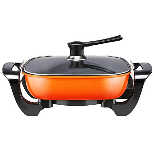 Fondue Hot Pot Electric Grill,Orange Modern Medical Stone Hot Pot Roast Smoke Free Non Fryer Stew Frying Cooking Stick.