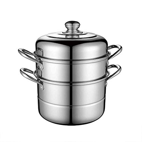 GYFYS Stainless Steel Steamer Pan Multi-Purpose Stockpot Large Capacity Energy Efficient Double-Layer Pot