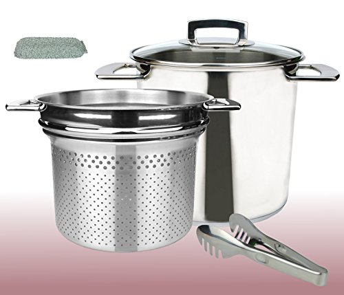 kela Spaghetti pot with strainer Made of Stainless Steel With Spaghetti Tongs + Shine A Pony Sponge