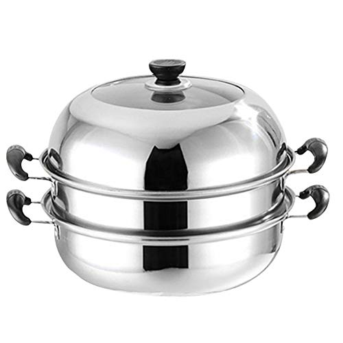 LKJJTG Home Kitchen Gas Stoves Induction Cooker Universal Steamer Pot, stainless steel, anti-scalding handle, multi-function pot-3Tier