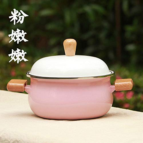 Milk Pans Saucepans Enamel Porcelain Milk Pot Food Small Stewpan Soup Noodle Health Pot Wood Handle Gas Induction Cooker-Pink