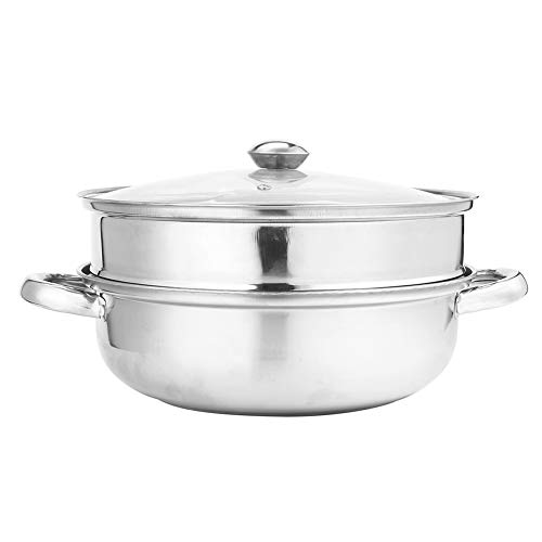 Non Stick Steamer Bowl With Lid, 2 Tier, Stainless Steel, 28CM, Anti-scalding handle, household kitchen multi-function pot