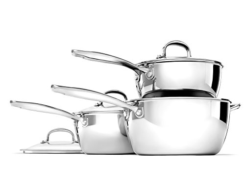 OXO Good Grips Stainless Steel Pro 3 Piece Saucepan Set (16cm / 18cm / 20cm)