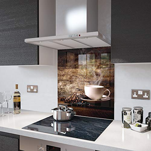 Premier Range - White Coffee Cup with Beans - Glass Splashback - 60cm Wide x 75cm High