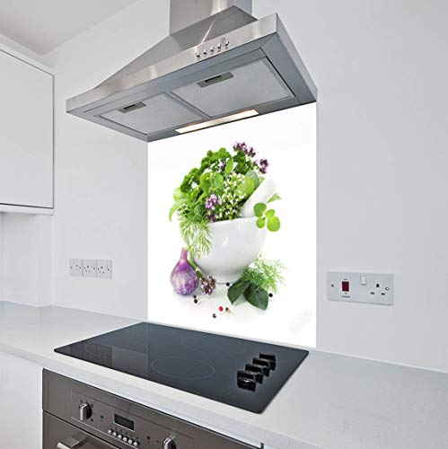 Printed Kitchen Glass Splashback Heat Resistant Toughened Glass Herbs Design (60 x 75cm - Silicone Adhesive Fixing)