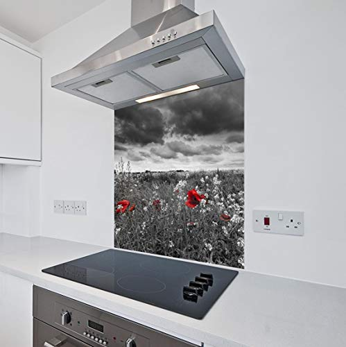 Printed Kitchen Glass Splashback Heat Resistant Toughened Glass Red Poppy Field Design (70 x 75cm - Silicone Adhesive Fixing)