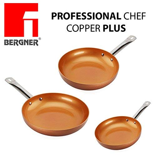 Professional Chef Copper Plus - Set of 3 Frying Pans super-Resistant Copper Coating - 100% PFOA-Free, Diameter 18/22/26 cm - Can be put in the Oven up to 200 degrees - Suitable for Induction Hob