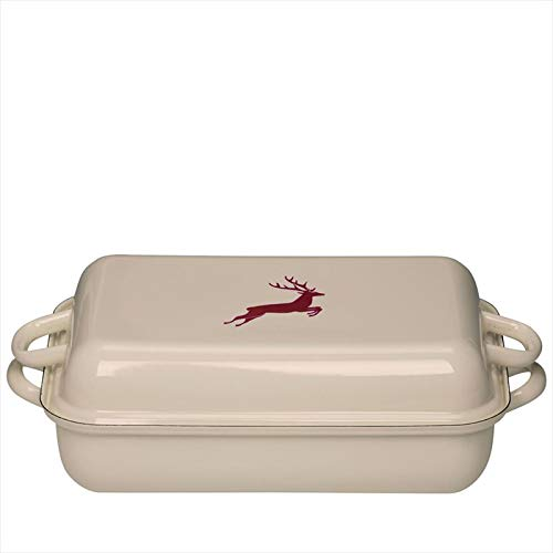 Riess  0105-071 Country-Hirschrot Baking Pan with Lid, Diameter-37 Cm/26Cm Off White